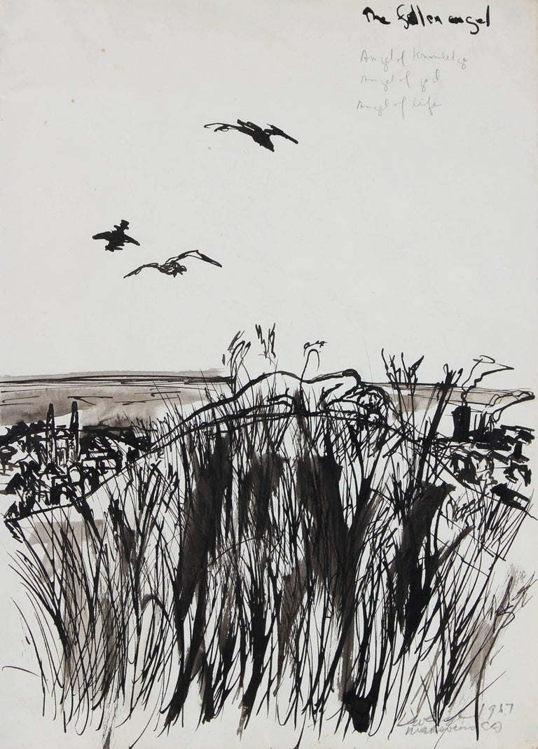 "Laura Lengyel Landscape Art - ""The Fallen Angel"" Monochromatic Ink on Paper Landscape, 1967"