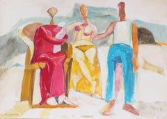 Abstracted Figures in a Landscape, Gouache Painting, 20th Century