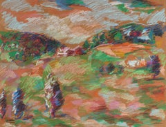 20th Century Colorful Abstracted Hillside in Pastel