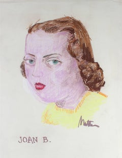 """Joan B."" Portrait Illustration in Pastel, Circa 1945"