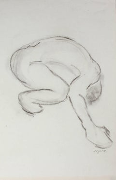 Crouching Monochromatic Figure in Charcoal, 1979