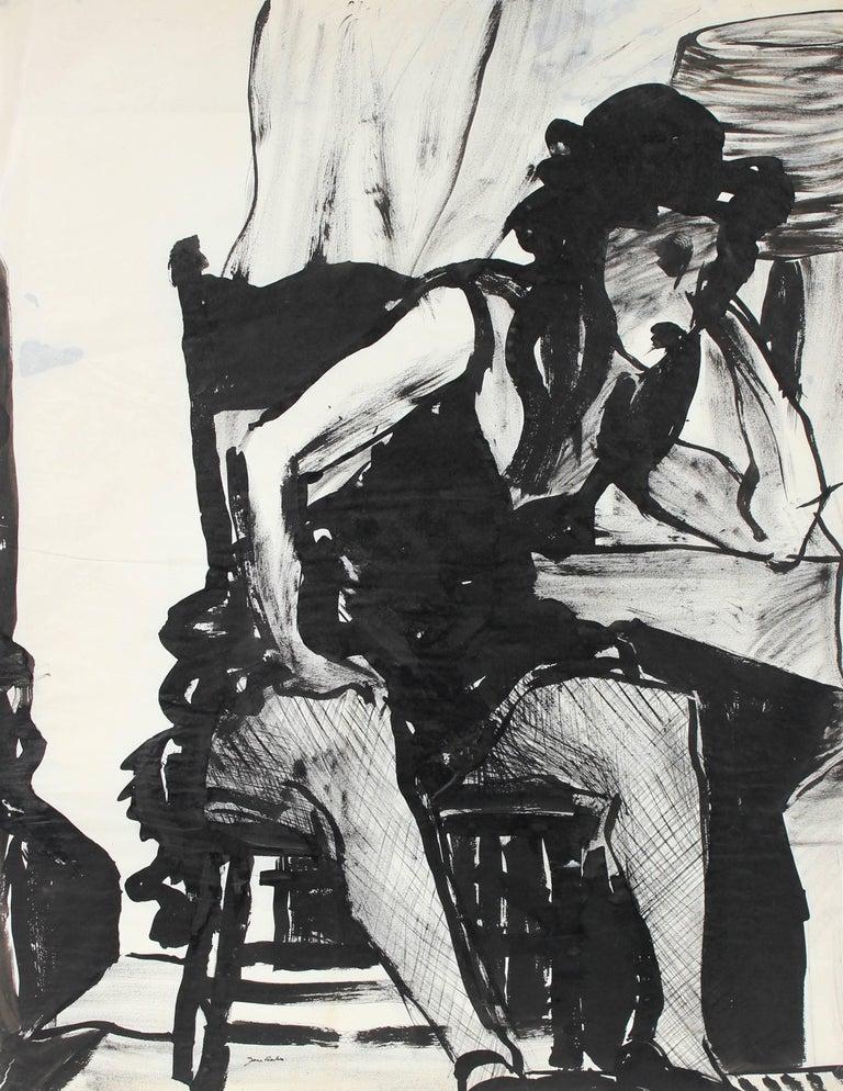 Seated Bay Area Figurative Portrait in Ink, Circa 1960s