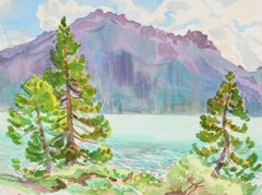 """Thunder Mountain Brewing a Storm"" Watercolor Lakeside Landscape w Pastel Colors"