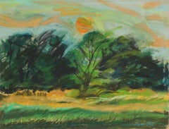20th Century Countryside Landscape in Pastel with Green Yellow and Orange