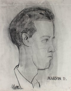 """""""Marvin P."""" Monochromatic Portrait Illustration of a Man in Charcoal, Circa 1945"""