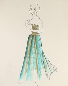 Evening Dress Fashion Illustration in Gouache, 1950s