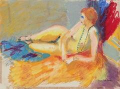 """""""Daphne"""" Bright Female Figure in Pastel, Circa 1960s"""