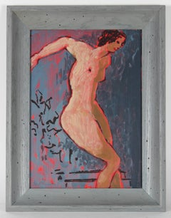 Modernist Nude with Blue, Oil Painting