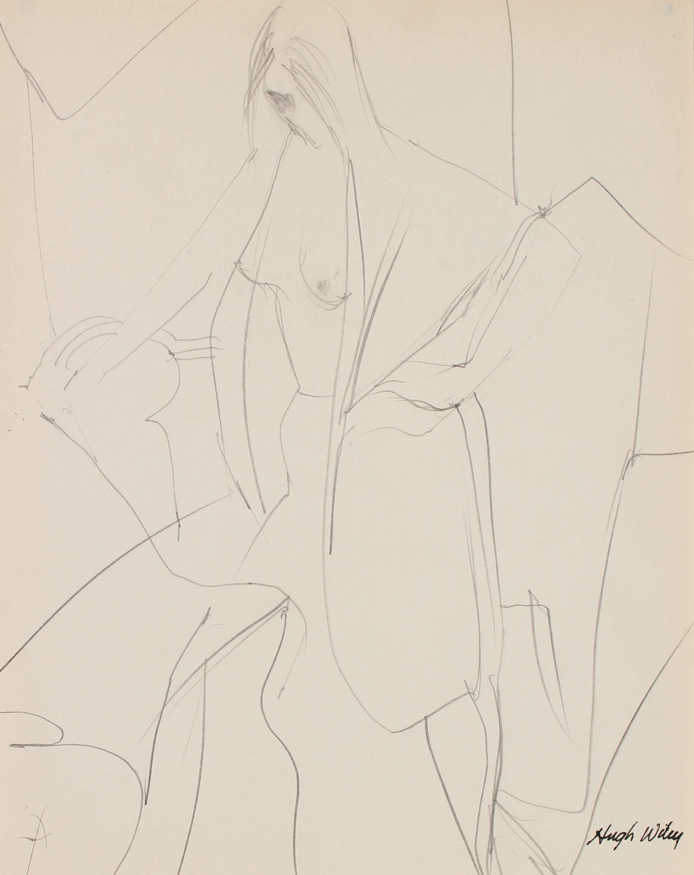 Draped Nude Figure in Graphite, 1960-1961