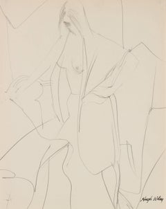 Draped Nude Figure in Graphite, 1960-1961