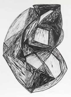 """Talisman"" Expressionist Abstract in Black Ink, Late 20th Century"