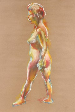 Colorful Nude Figure in Pastel, 1970
