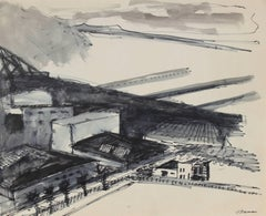 San Francisco Industrial Pier in Ink, Circa 1970s