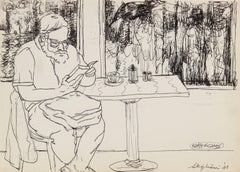 Portrait of a Man Reading, Ink on Paper Drawing, 1981