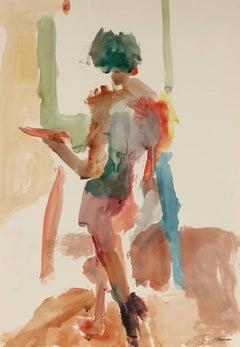 Colorful Watercolor Nude, Circa 1960s