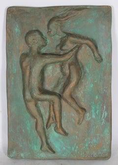 """""""Celestial Couple I"""" Figurative Plaster Relief Sculpture, 1969"""