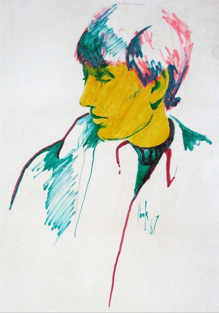 Portrait of a Man, Marker on Paper, 1967