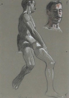 Parisian Male Figure Study in Charcoal and Pastel, Framed, 1906