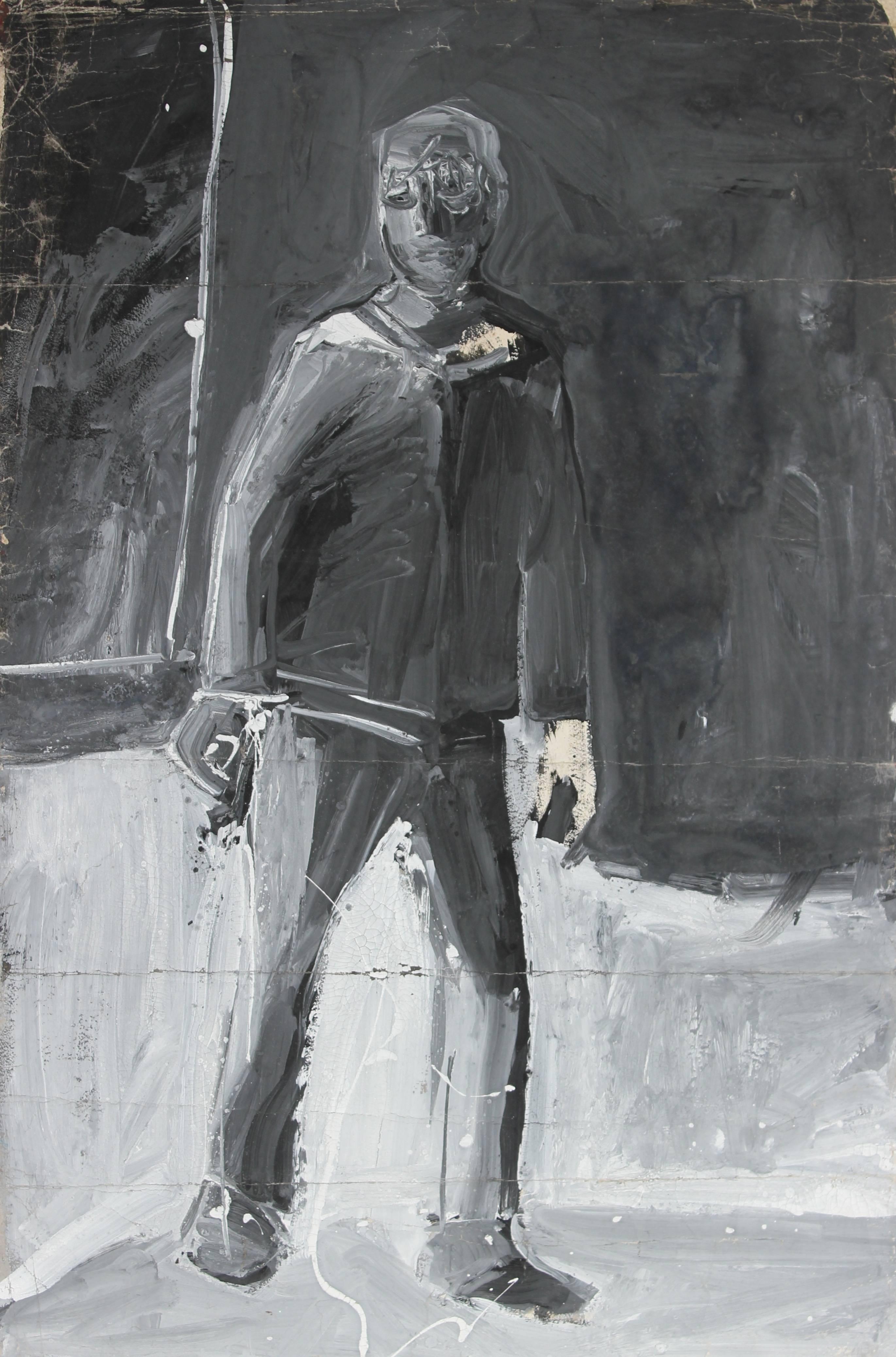 Monochromatic Expressionist Figure, Acrylic Painting, 20th Century