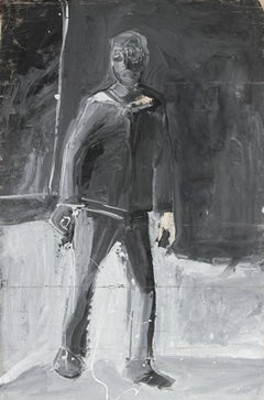 Monochromatic Expressionist Figure, Acrylic Painting, 20th Century