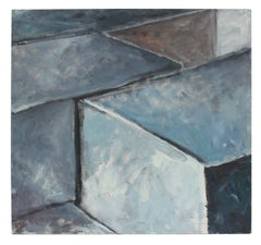 Large Geometric Abstract in Blue and Gray, 2004