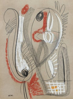 Monochromatic Abstract in Pastel, Framed, 20th Century