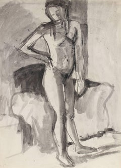 Monochromatic Figure Study in Charcoal and Ink, 1978