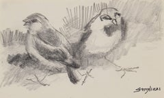 Small Birds in Graphite, New York City Drawing