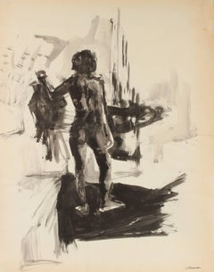 Monochromatic Nude in Shadow, Ink on Paper Figure, 20th Century