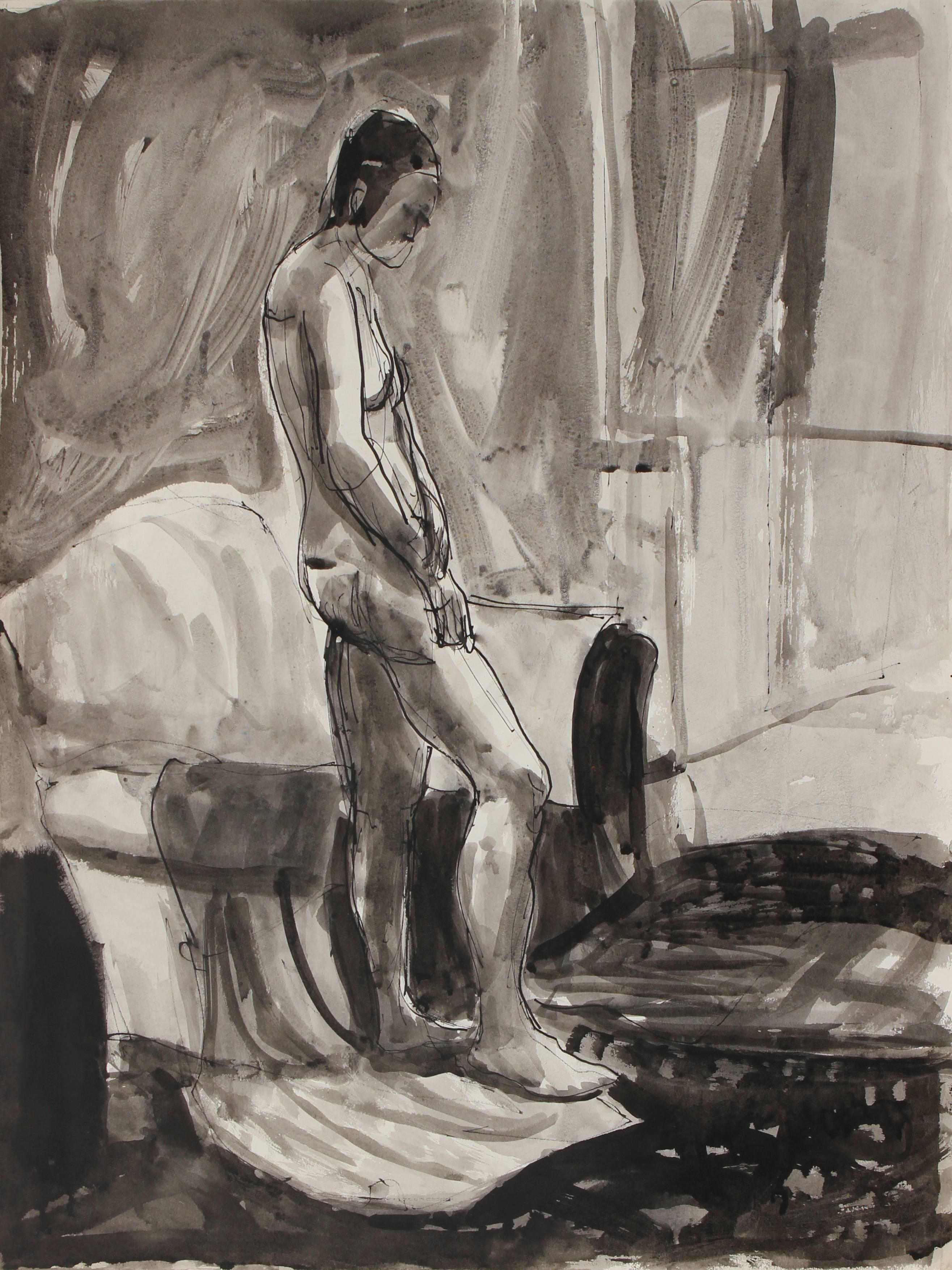 Monochromatic Expressionist Interior with Figure, Ink Drawing, 1976