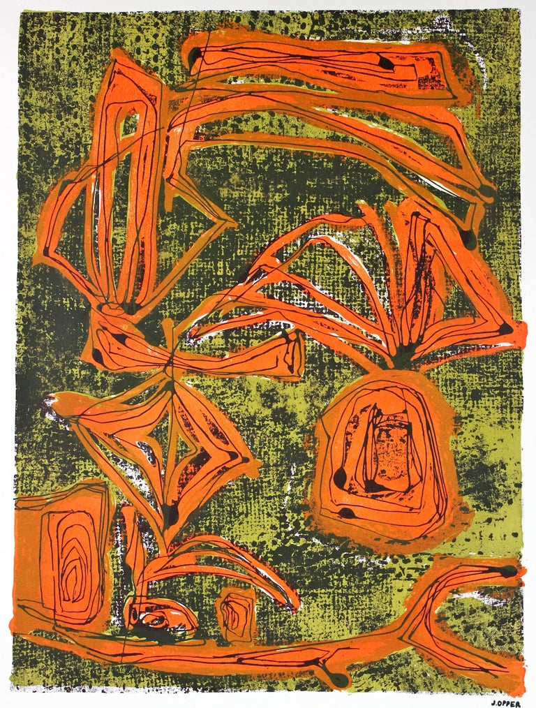 Modernist Abstract Lithograph in Orange and Green, Circa 1950s