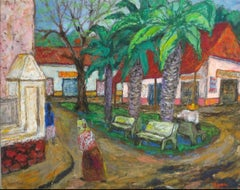 """Plaza Apatzingán"" Mexican Town Square in Oil Pastel, 1954"