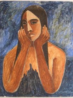 Mid Century Portrait with Blue