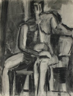 Monochromatic Cubist Figure in Charcoal, 1950
