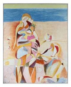 Abstracted Figure on the Beach, Large Mid-Century Oil Painting