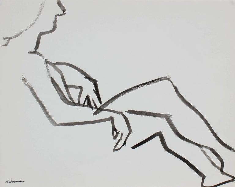 Modernist Figure Study in Ink, 1976