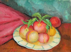 Still Life with Peaches, Oil on Canvas, Mid 20th Century