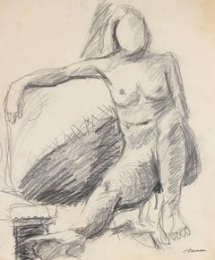 Modernist Figure Sketch in Graphite, Circa 1960