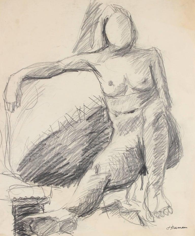 Modernist Figure Sketch in Graphite, Circa 1960