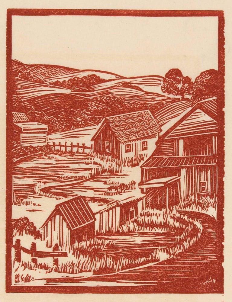 Rural Landscape Linocut in Sepia, Circa 1940