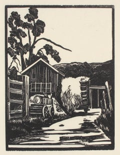 Barn with Haystack, Linoleum Block Print, Circa 1940