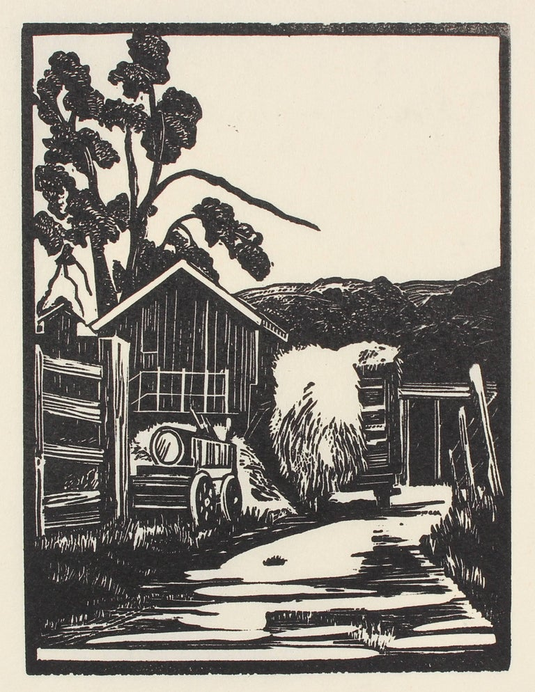 Mary Watterick Evans Landscape Print - Barn with Haystack, Linoleum Block Print, Circa 1940