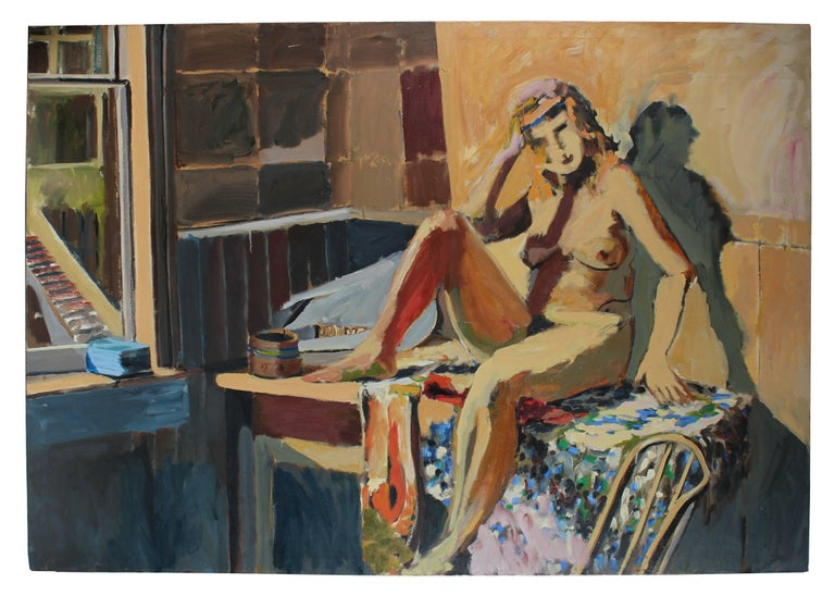 Large Figure Painting in Oil, Mid-Century