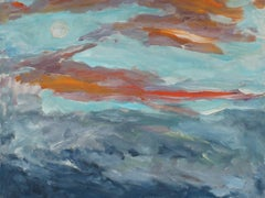 """Full Moon Rise in a Sunset Sky"" Landscape with Clouds in Oil, 1989"