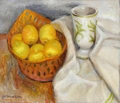 Still Life with Lemons, Oil on Linen, Mid 20th Century
