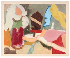 Bright Abstracted Figures, Oil on Canvas, 20th Century