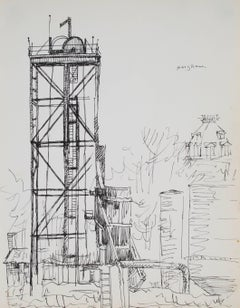 New York Industrial Scene, Ink on Paper, Mid Century