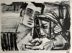 Monochromatic Man and Woman, Lithograph, Circa 1950s