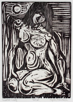 """Seated Lady"" Monochromatic Figurative Woodcut, 1960"