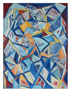 """""""September 11th, 2001"""" Large Cubist Abstract in Oil"""